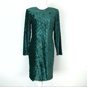 "Vintage ""Beaded Drama"" Rayon Velvet Dress"